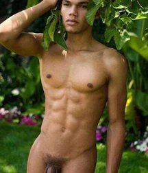 Naked boys in the tropical forest