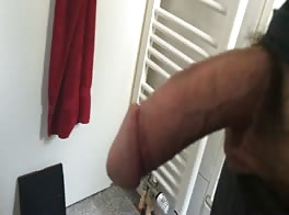 Cumming in bathroom