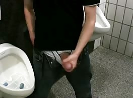 boy in public toilet - wanking big cock, selg suck