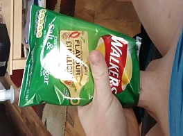 Wank and cum in crisp packet