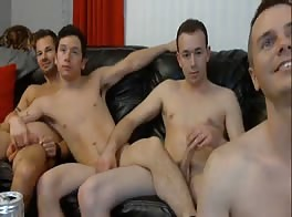 four young men with sex on the couch
