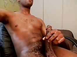 wanking his big cock