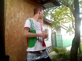 backyard gay porn videos fun when Italiano gets bored