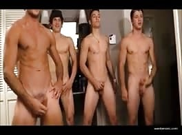 Four gorgeous guys have a wanking race