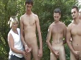 wanking boys straight group outside