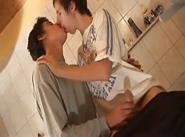 two hot young boys in bathroom