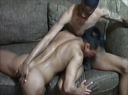 Asian Pussy Boy Takes Black Big Cock Bareback With Creampie