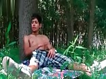 Sexy Latino boy wanking in the forest