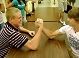 Schoolboys armwrestle