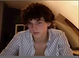 Cute curly haired twink masturbating