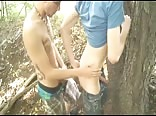 Young guys hook up outdoors