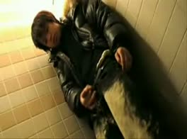 Boy cums in toilet