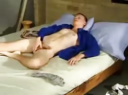 Cute blonde wanking