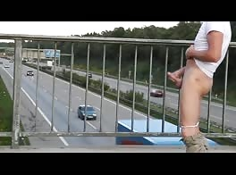 Public wanking at the autobahn