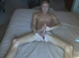 Slim boy with dildo