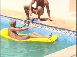 Blond boys fuck in the pool