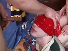 blindfolded piss and cum