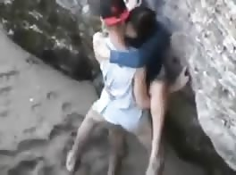 couples caught a camera while they having sex on the beach