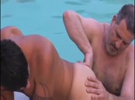 daddy has oral sex in pool