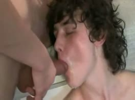 CURLY HAIRED BOY EATS CUM