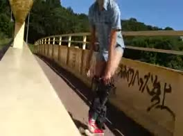 Public Jerking on the Bridge