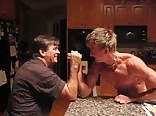 Ripped Blond Teen Armwrestles Dad