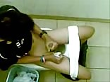 Asian wank in toilet