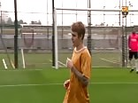 Justin Bieber playing football with Neymar and Messi
