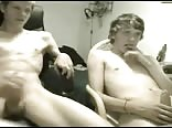 Young couple masturbating in the room