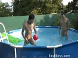 play naked in the pool ( no porn)