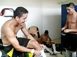 Inside the dressing room of a soccer team