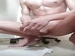 Smooth twink cums hands free