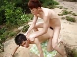 Very hot asian boys in bareback & cum action outside