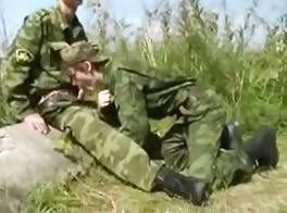 Skinny, Smoking Russian Soldier Fucks Another