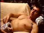 Straight guy wanking on couch