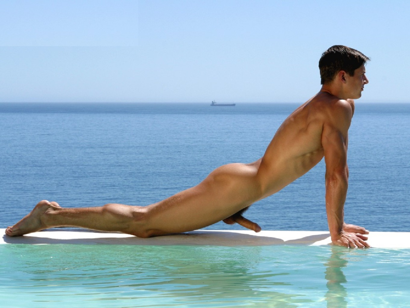 Naked hairy man outdoor in a pool villa jerking off