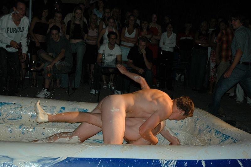 Nude mud wrestlin