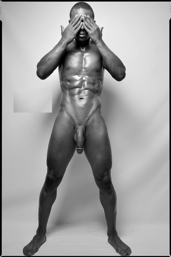Male nude experiment black and white