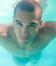 swim underwater bare