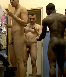 black and white in the locker room