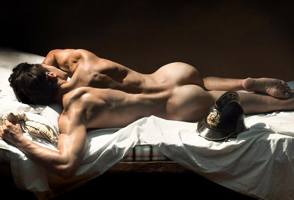 Nude man masturbating his hardon