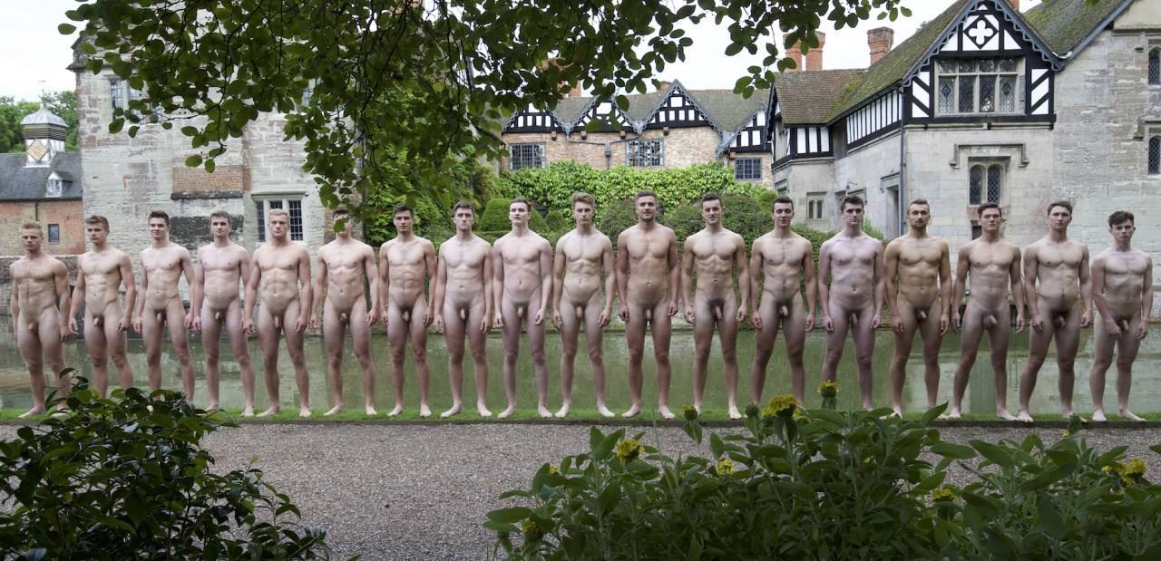 Nude in front of many men