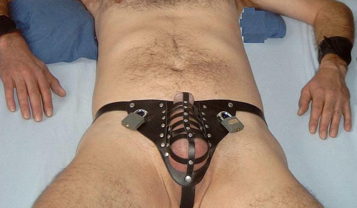 Bondage chasity belt oral sex