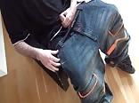 Wanking in baggy jeans