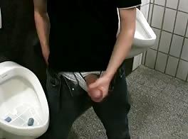 boy in public toilet - wanking big cock, selg suck