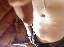 masturbates cums all over his chest hot boy