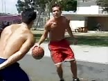 hot dudes in white socks wank after basketball play