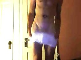 blond boy jerks off and cums in bed