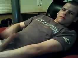 lad cums on t-shirt