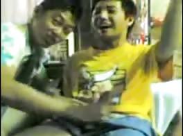 Thai boys giving hand